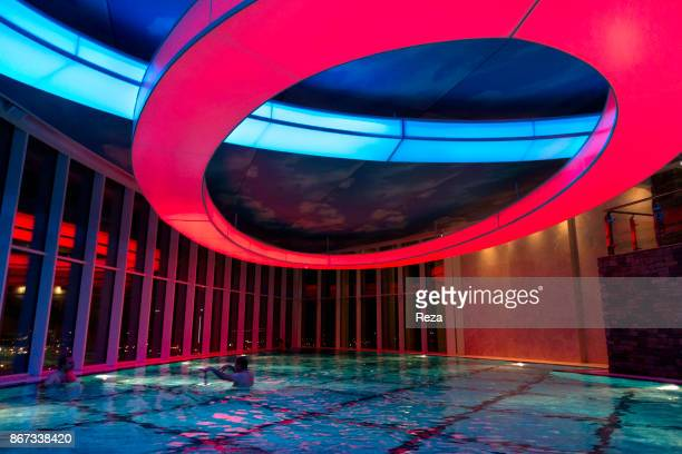 At night the swimming pool basin of the Grand Millennium hotel in Sulaymaniyah lights up its shimmering colours Many modern complexes have emerged in...