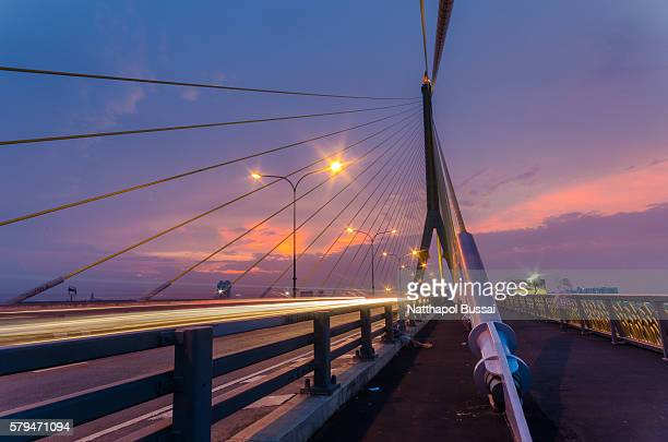 At nightlife BKK , Cityscape Rama 8 bridge , wonderful Bangkok , Thailand.