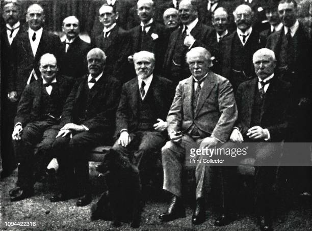 At Number 10 Downing Street' circa 1922 Sir Winston Churchill with Arthur Balfour French President Raymond Poincare British Prime Minister David...