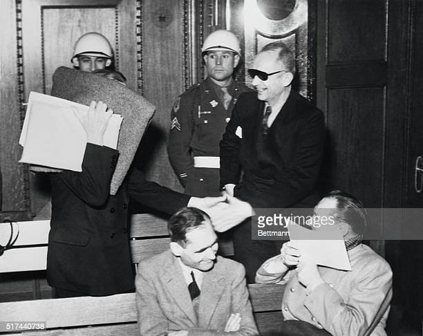 At Nuremberg War Crimes Trial Nuremberg Germany The 'boys' have a wonderful time greeting each other in the morning at the International Military...
