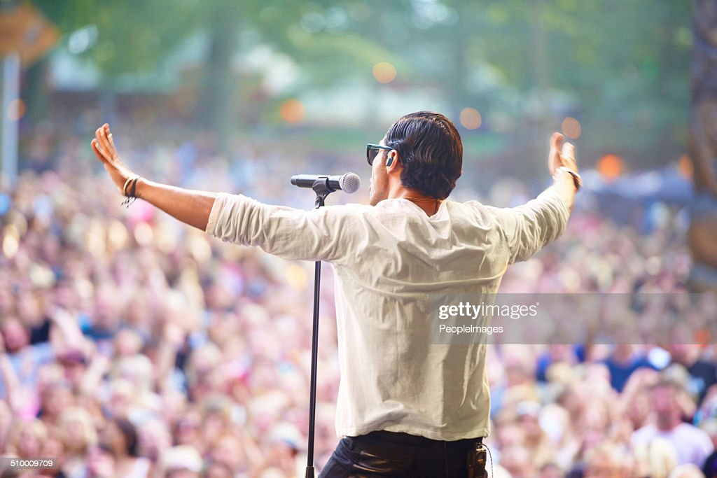 At one with the audience : Stock Photo
