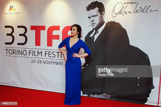 At opening ceremony of the 33rd Torino Film Festival the godmother of this year, Chiara Francini dressed by fashion designer Paolo Isoni.