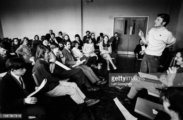At Queen's University, an unidentified speaker adderesses students during a meeting of the civil rights organization the People's Democracy, Belfast,...