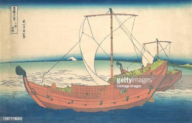 At Sea off Kazusa , from the series Thirty-six Views of Mount Fuji , circa 1830-32. Artist Hokusai.