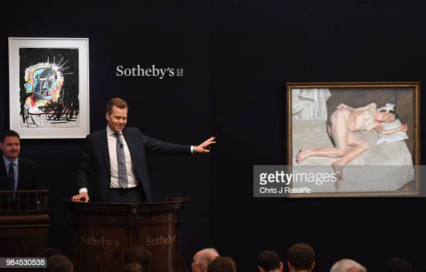 At SothebyÕs Contemporary Art Evening Sale Lucian FreudÕs late masterpiece 'Portrait On A White Cover' sells for £225 million to become the most...