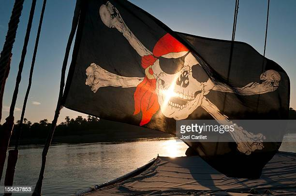 Pirate flag at sunrise