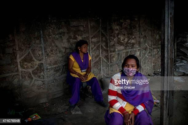 At Thankot Checkpoint on the way out of the Kathmandu valley Sanumaya B K 30 years and Kalpana Magar 32 years from the organization Mati Nepal...