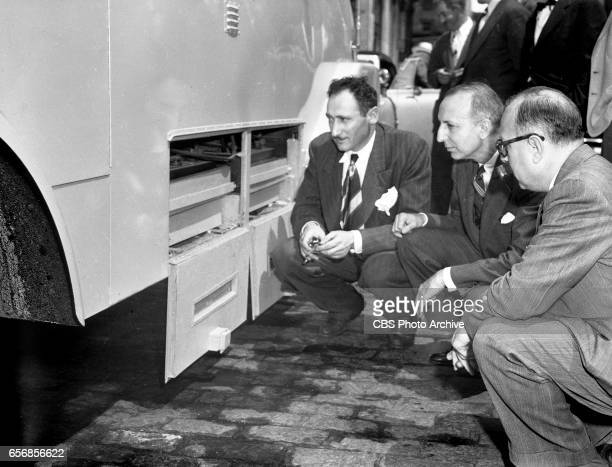 At the 1948 Republican National Convention Philadelphia Pennsylvania a weatherproof press box built on a truck chassis for CBS can handle as many as...