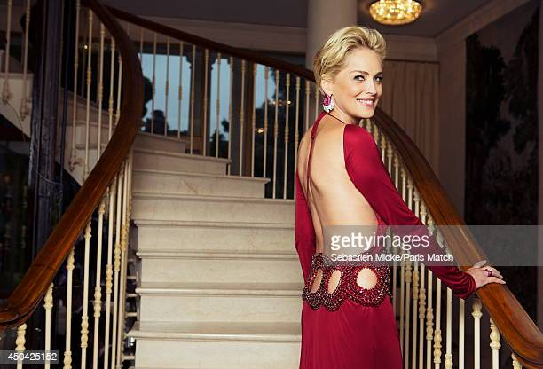at the 21th Gala of AmFar Cinema Aganist AIDS Sharon Stone wearing a Roberto Cavalli dress is photographed for Paris Match in Cap d'Antibes at the...