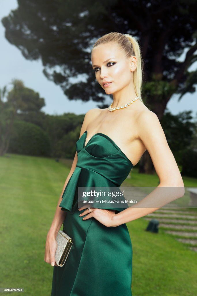 at the 21th Gala of AmFar Cinema Aganist AIDS, the russian model Natasha Poly wearing a Marni dress is photographed for Paris Match in Cap d'Antibes at the Hotel Cap-Eden-Roc on May 22, 2014;