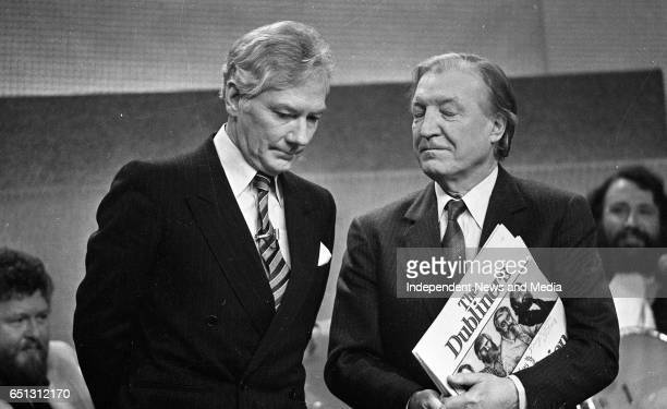 At the 25th Year celebration of The Dubliners on The Late Late Show Gay Byrne and Charles J Haughey Dublin