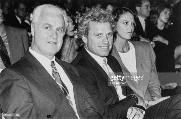 At the 31st Annual Democratic Congress Dinner former Rep Jim Moody DWis Rep Joseph P Kennedy II DMass and wife Anne Elizabeth Kelly sit together on...