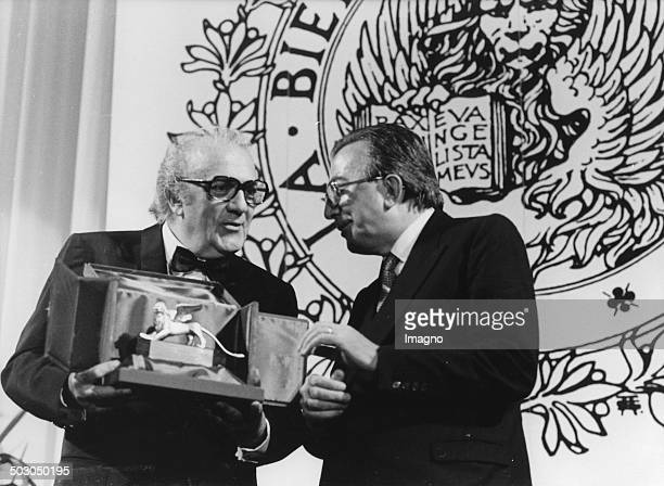 At the 42nd Venice Film Festival Federico Fellini was awarded the Golden Lion Honorary Award by Italian foreign minister Giulio Andreotti Venice...