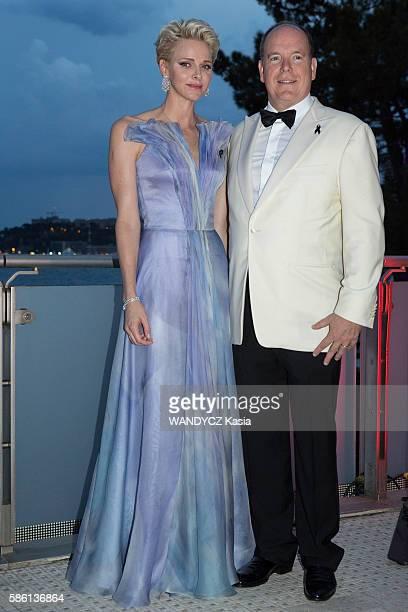 at the 68th gala La CroixRouge in MonteCarlo Sporting Club the princess Charlene dressed Armani Prive with the prince Albert II de Monaco are...