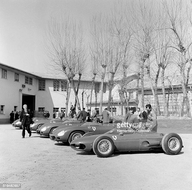 At the annual press conference vehicles in the yard of the Ferrari factory Maranello Italy February 1962 They include various rearengined sports cars...