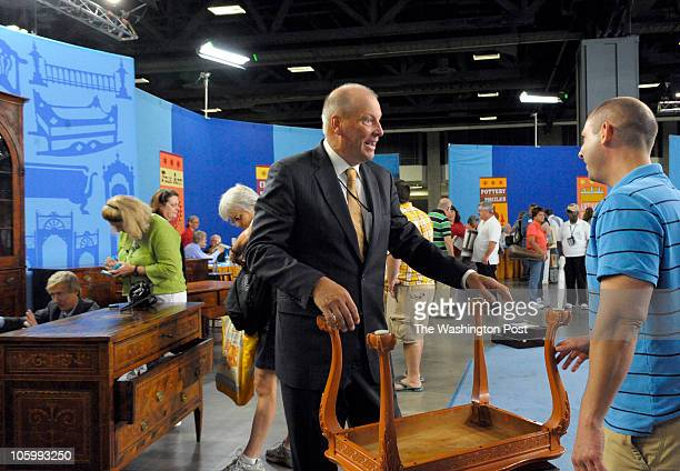 WASHINGTON DC AUGUST 21 At the Antiques Roadshow's visit to Washington DC Appraiser John Sollo talks with John Corso of NJ about his Chippendal...