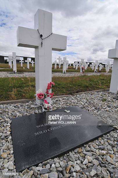 At the Argentinian cemetery in DarwinThe tomb says argentine soldier only known by God on January 24 2012 in Port Stanley Falklands Islands