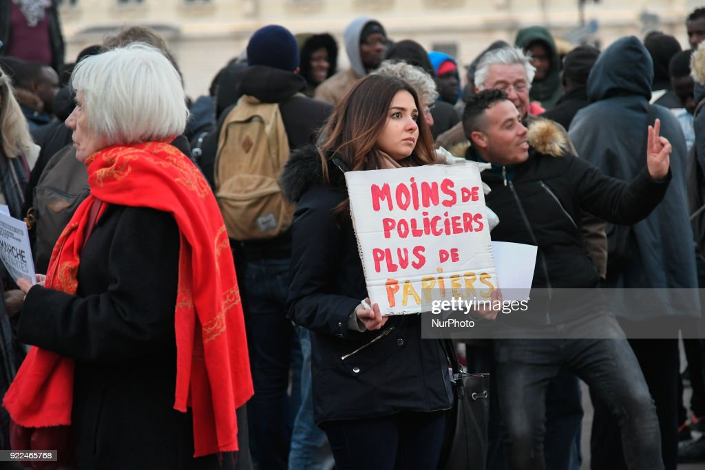 At the Baam's call, several associations for the protection of refugees march from place St Michel in Paris to the National Assembly against the Immigration Law. in Paris, France, on 21 February 2018. At the Baam's call, several associations for the protection of refugees march from place St Michel in Paris to the National Assembly against the Immigration Law.