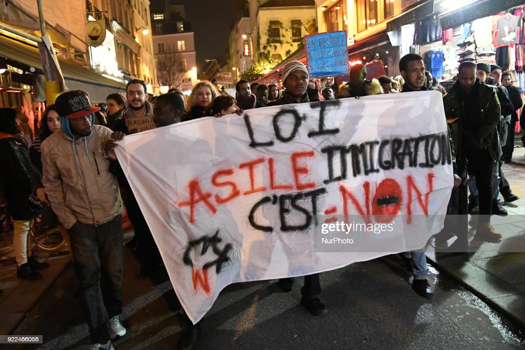 Immigration Law Protest March in Paris : News Photo