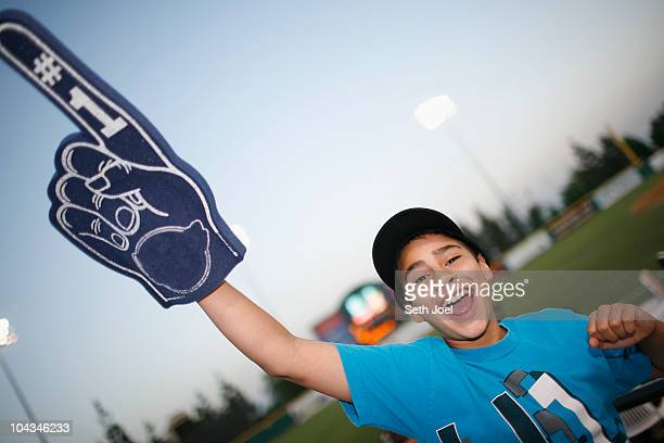 at the ball park - foam finger stock photos and pictures