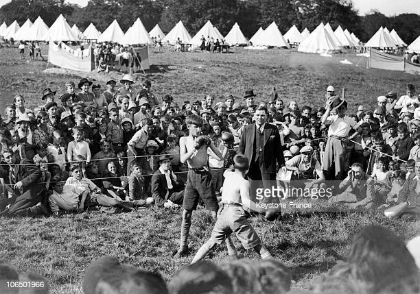 At The Basque Refugee Camp At Stoneham In Eastleigh Near Southampton Great Britian Two Of The 4000 Basque Refugee Children Took Part In A Boxing...