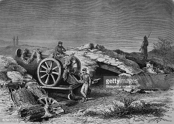At the battery of perouse near belfort after the proclamation of peace illustrated war history german french war 18701871