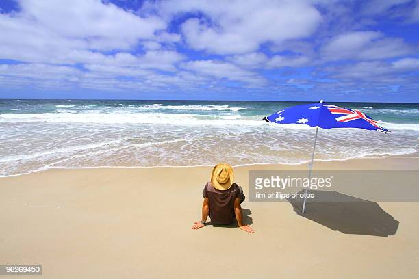 at the beach australia - australia day stock pictures, royalty-free photos & images