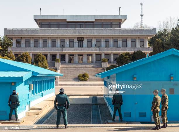 dmz at the border between north and south korea - guarding stock photos and pictures
