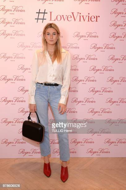 at the brunch for the book #LoveVivier La Maison Roger Vivier Faubourg SaintHonoré Camille Charriere is photographed for Paris Match on May 24 2018...