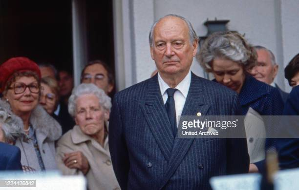At the celebration of the 75th birthday of Louis Ferdinand, Prince of Prussia at Villa Monbijou in Berlin, Germany, 1982.