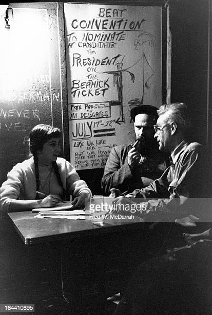 At the College of Complexes bar from left 'Miss Chicago Beatnik' Gnomi Gross Beatnik Presidential candidate William Lloyd Smith and bartender Slim...