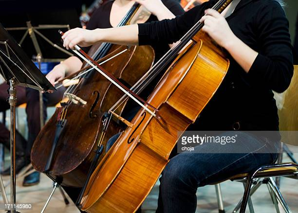 at the concert...women cellists playing - string instrument stock photos and pictures