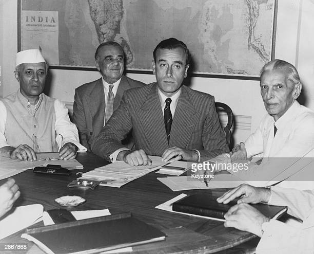 At the conference in New Delhi where Lord Mountbatten disclosed Britain's partition plan for India Indian nationalist leader Jawaharlal Nehru adviser...