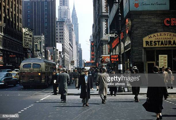 At the corner of 7th Avenue and 42nd Street in New York Ca 1960