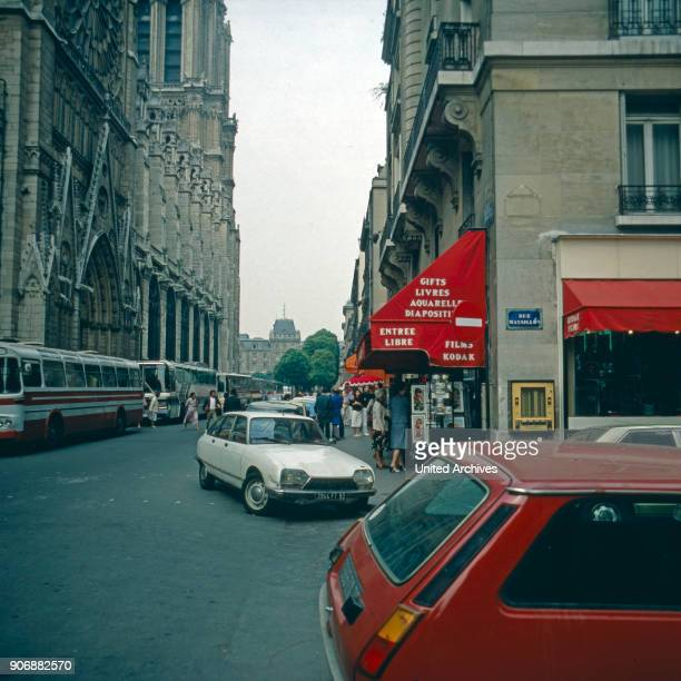 At the corner of Rue Massilon and Rue du Cloitre Notre Dame in Paris France late 1970s