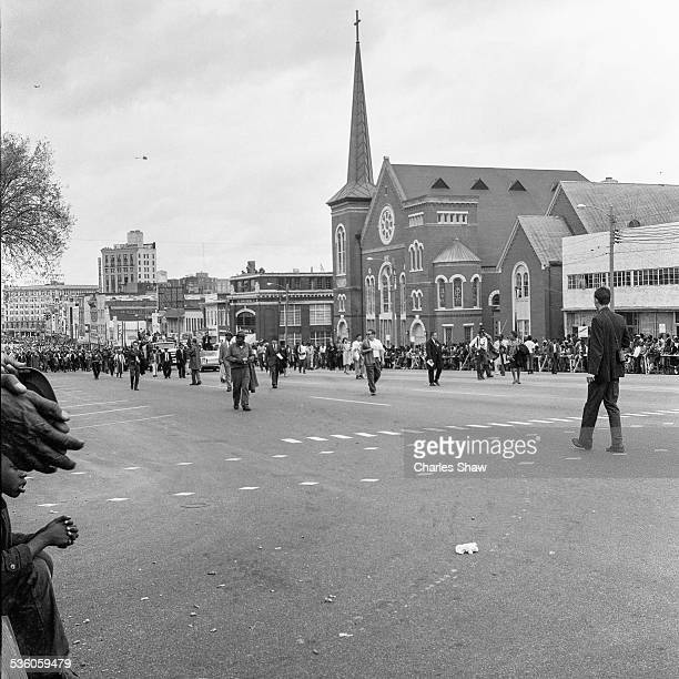 At the culmination of the Selma to Montgomery March marchers begin their final few blocks up Dexter Avenue to the Alabama State Capitol with...
