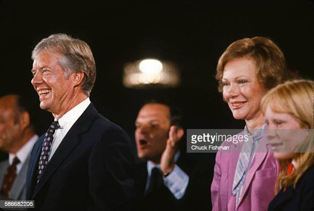 At the Democratic National Convention American politician and US President Jimmy Carter his wife First Lady Rosalynn Carter and the couple's daughter...