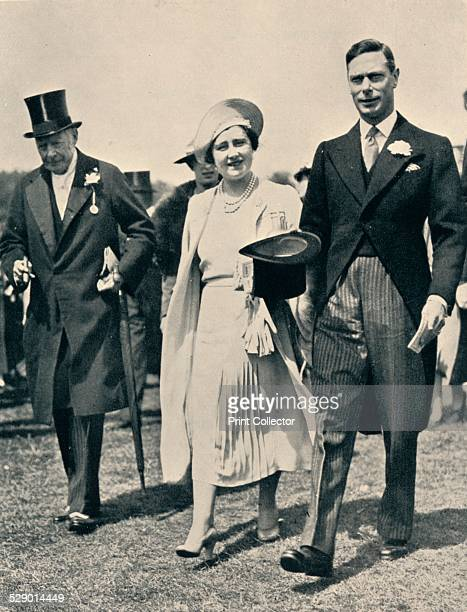 At The Derby, 1938. King George VI , Queen Elizabeth and Lord Lonsdale at the Epsom Derby, 1938. From Flat Racing published by Seeley, Service & Co,...