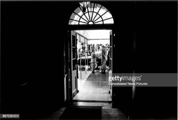 At the Diplomatic Entrance to the White House Japanese Prime Minister Kiichi Miyazawa shakes hands with US President Bill Clinton at the conclusion...