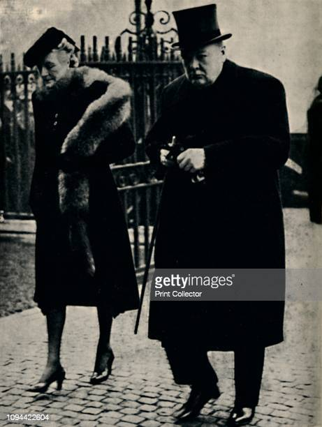 At the Duke of Connaught's Funeral', January 1942, . British Prime Minister Winston Churchill and his wife Clementine at the funeral of Prince...