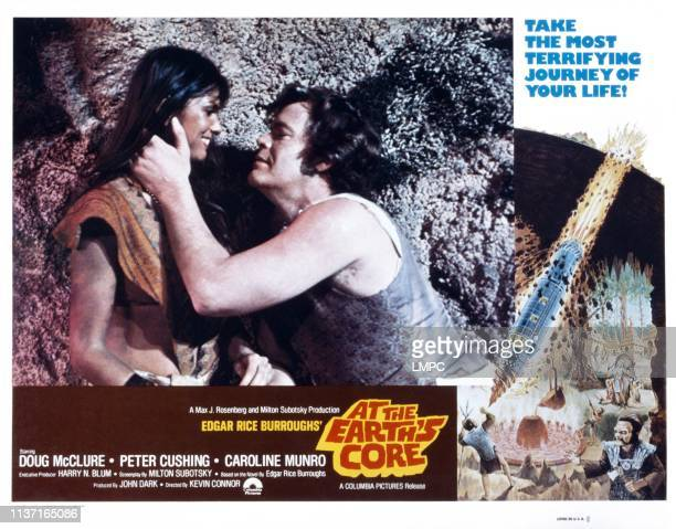 At The Earth's Core lobbycard from left Caroline Munro Doug McClure 1976
