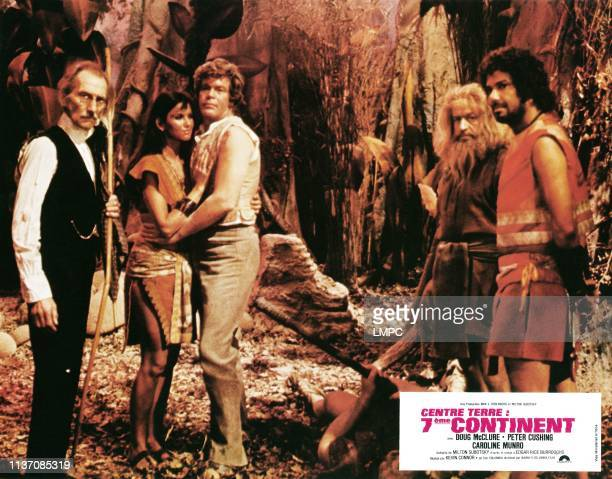 At The Earth's Core lobbycard from left Peter Cushing Caroline Munro Doug McClure Godfrey James Cy Grant 1976