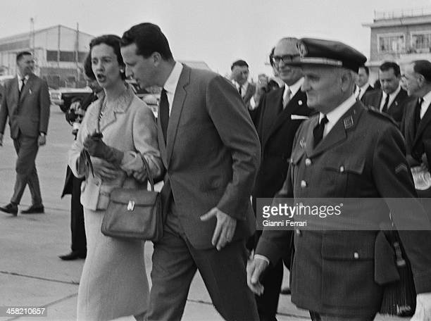 At the end of his official trip to Spain the Belgian Royals Baudouin and Fabiola at Barajas airport 29thSeptember 1978 Madrid Spain