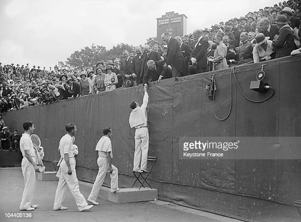 At the end of the Davis Cup's second day in RolandGarros stadium Jacques BRUGNON followed by Henri COCHET and by the Americans Wilmer ALLISON and...
