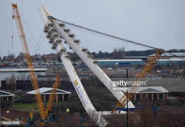 At the end of the first day the final 100 metre centrepiece of Sunderland's new River Wear crossing is lifted into place on February 10 2017 in...