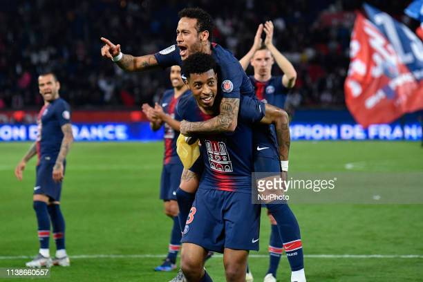 At the end of the french Ligue 1 match between Paris Saint-Germain and AS Monaco at Parc des Princes stadium, the players of the PSG celebrate with...