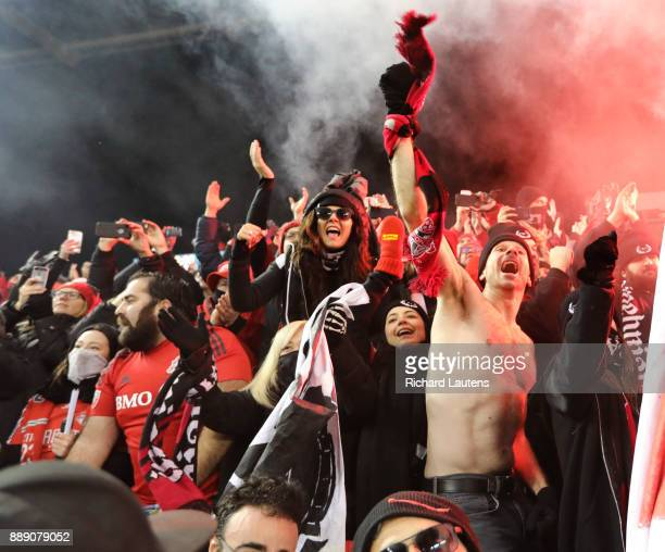 TORONTO ON DECEMBER 9 At the end of the game fans celebrate the victory The TFC beat the Seattle Sounders 20 in the MLS Cup Final at BMO field in...
