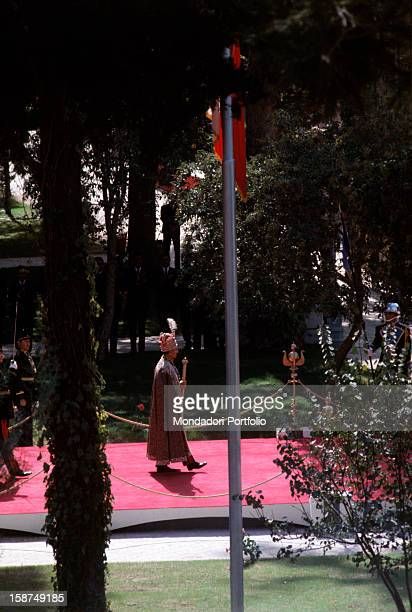 At the end of the incoronation ceremony the Shah of Persia Mohammad Reze Phalavi goes out of the Golestan Building Teheran 26th October 1967