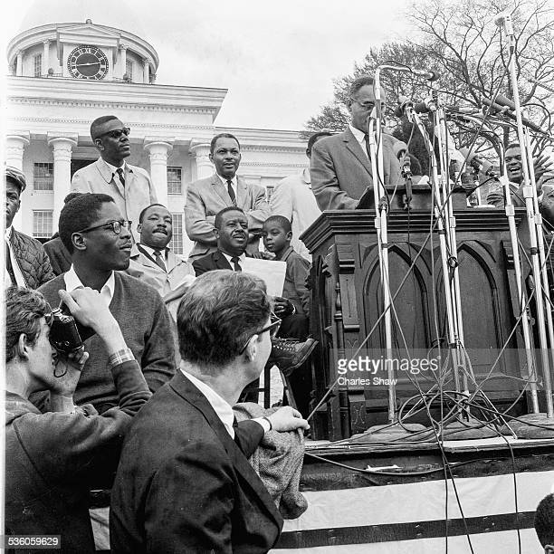 At the end of the Selma to Montgomery March Civil Rights leader Ralph Bunche speaks to the assembled marchers and spectators in front of the Alabama...