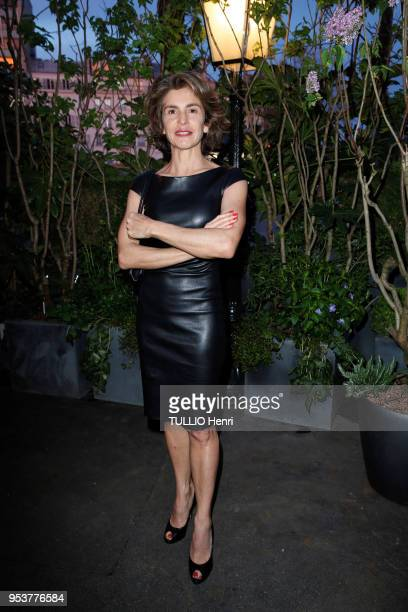 at the evening gala for the 11th price of La Closerie des Lilas 2018 Anne Nivat is photographed for Paris Match on april 11 2018 in Paris France